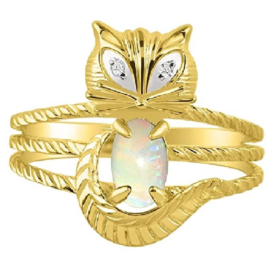 Anillo de gato con piedras preciosas y diamantes brillantes en plata chapada en oro
