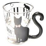 vasos de vidrio decorados de gatos