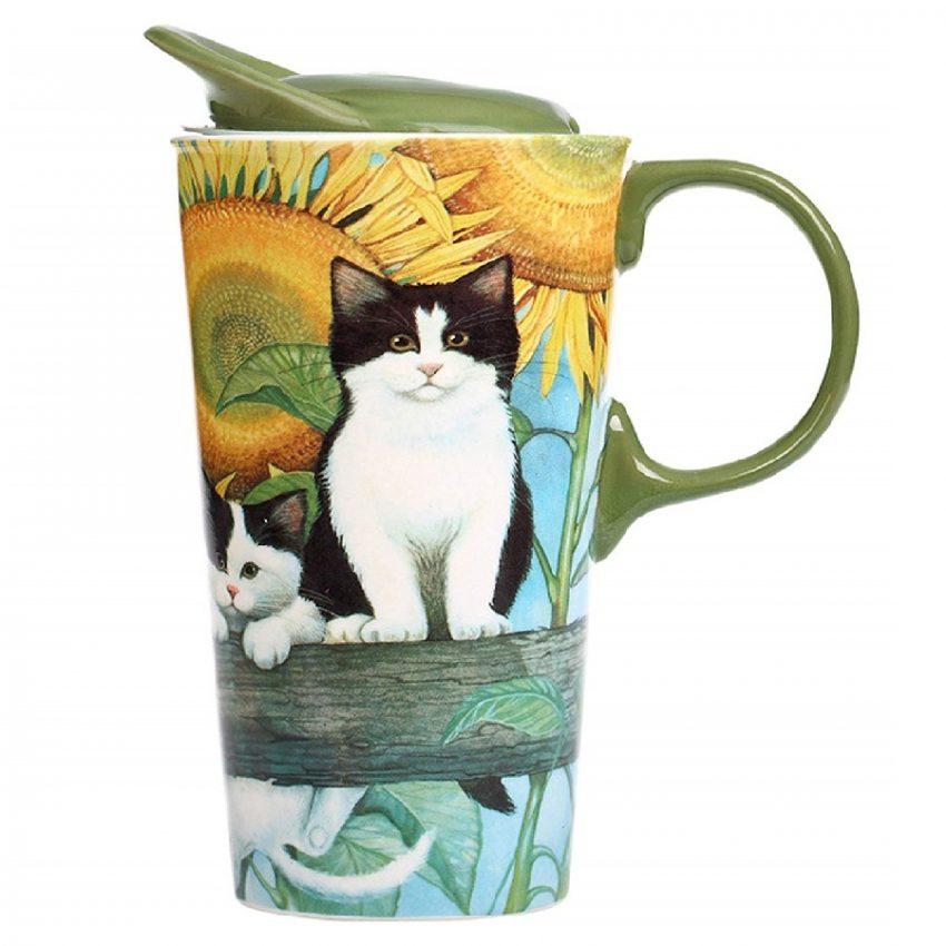 taza de café de cerámica de porcelana con tapa de gatos