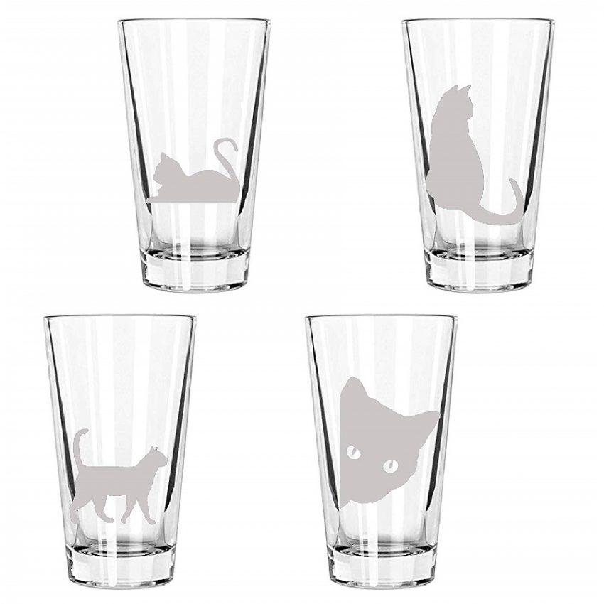 vaso de bebida dibujo de gatos