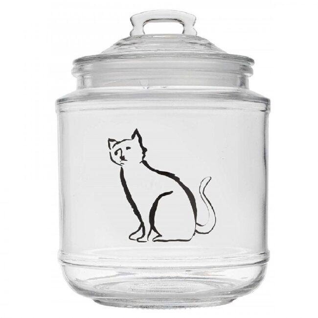 tarro de vidrio con tapa diseño de gato