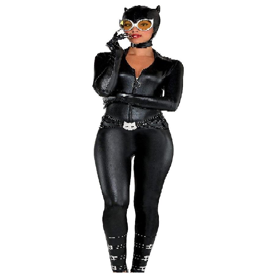 disfraz de mujer enterizo negro de cuero de gata