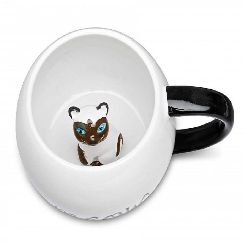 Taza de café de cerámica con diseño de animal de gato 3D