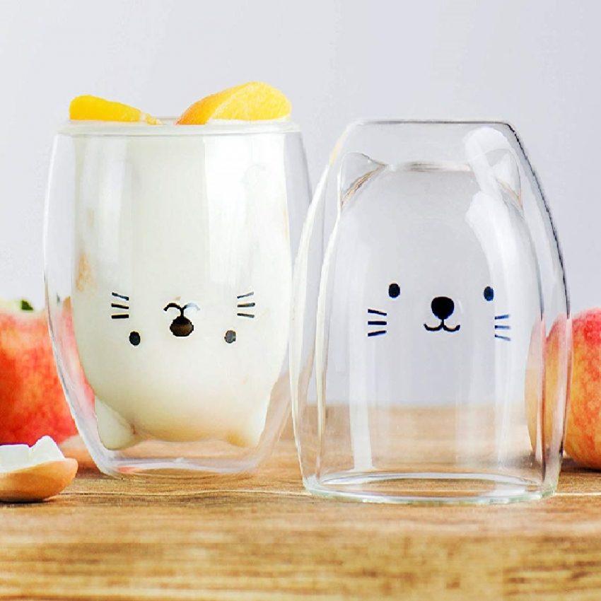 vaso con diseño en copa de gatos
