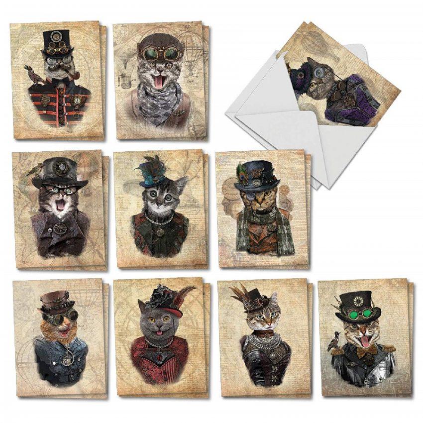 Steampunk Gatos tarjetas de notas para todas las ocasiones