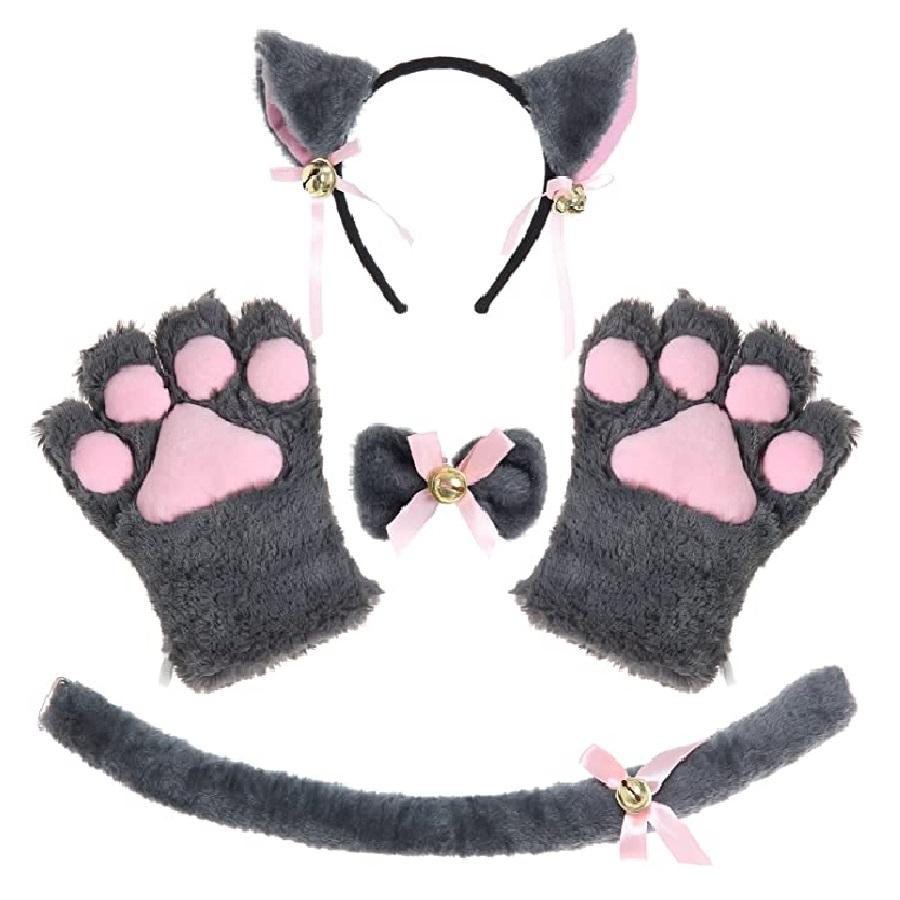 disfraz de orejas y cola de gato