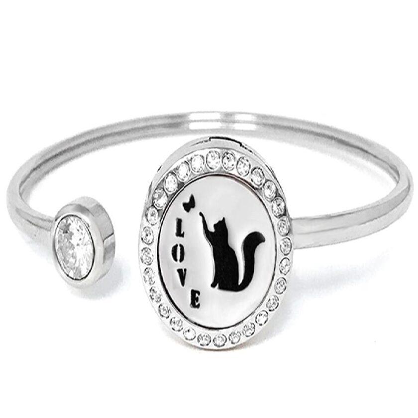 pulsera mujer de gatos de plata y acero