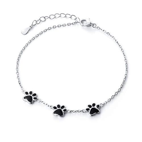 pulseras mujer de plata con huellas de gato