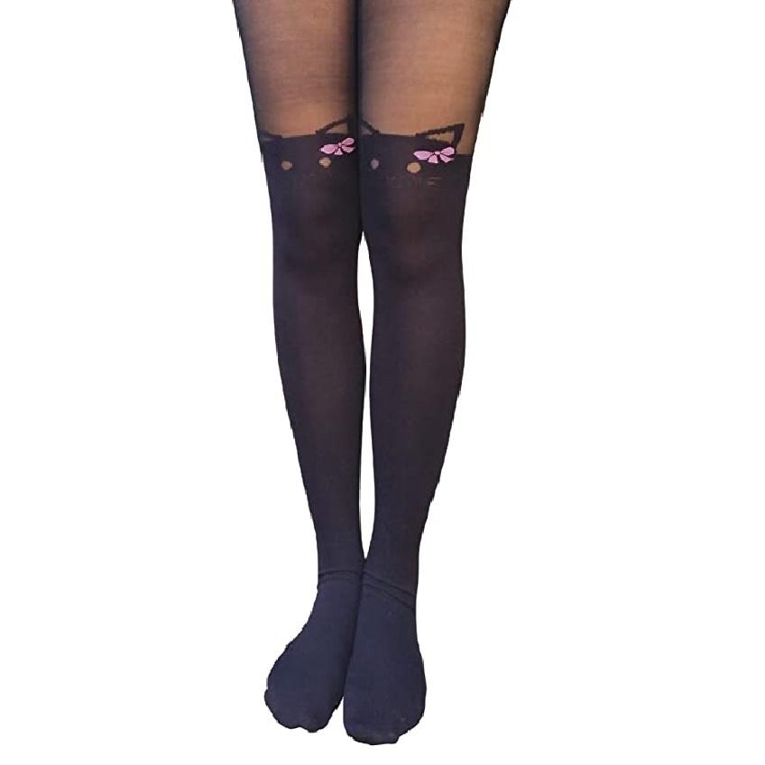 medias pantis mujer color negras de gatos