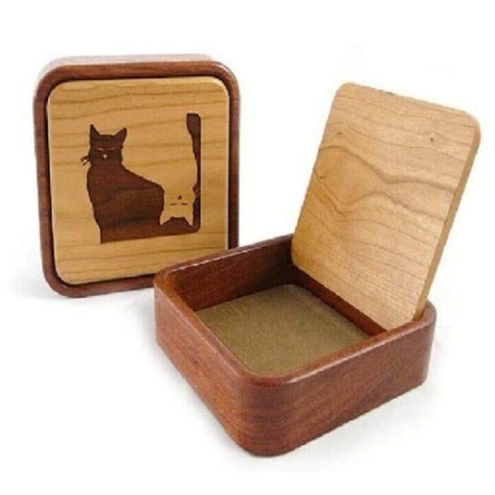 joyeros de madera pequeños decorados de gato