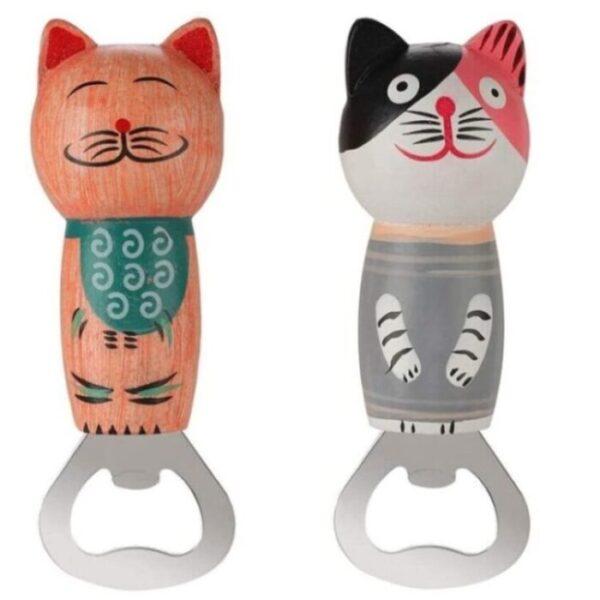Abridor de botellas de acero diseño de gato