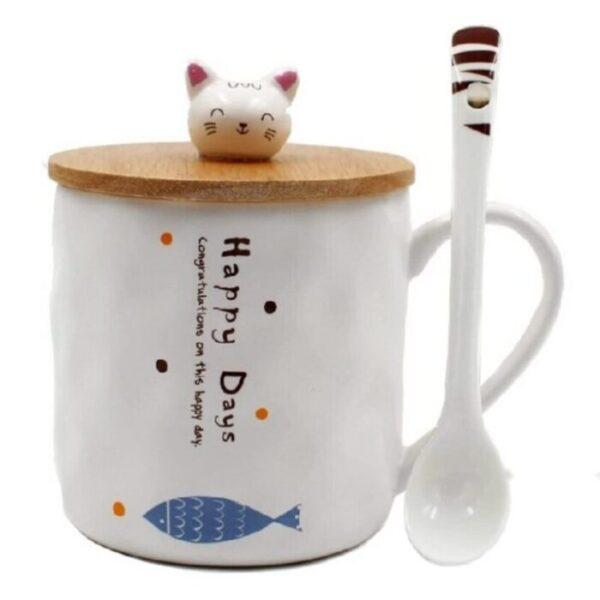 azucarera cerámica de gato
