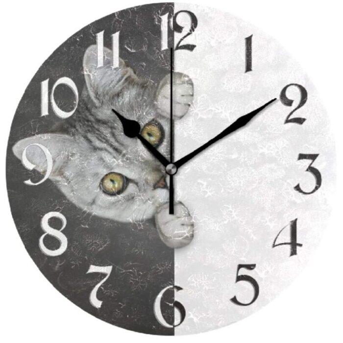 reloj de pared de oficina de gatos