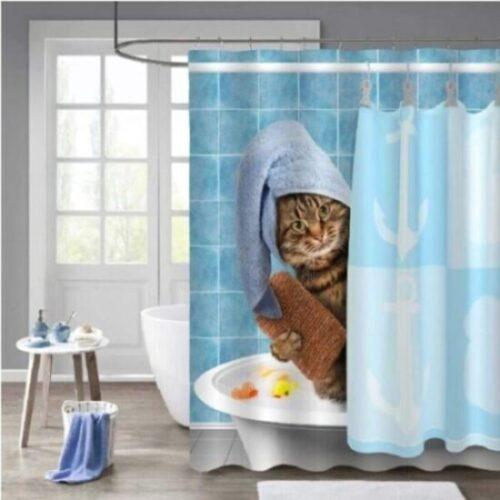 cortina de baño de tela de gatos
