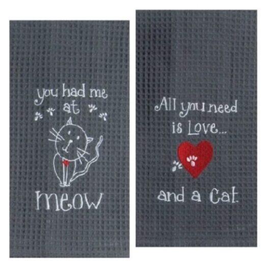 Juego de toallas bordadas para amante de gatos