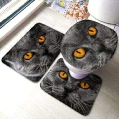 Juego de alfombras de baño de gato