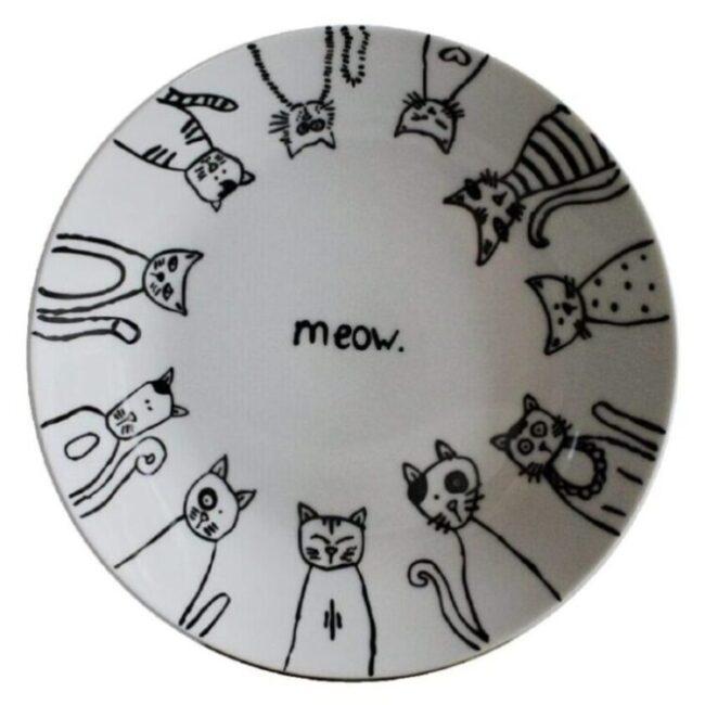 platos grandes para servir comida diseño de gato