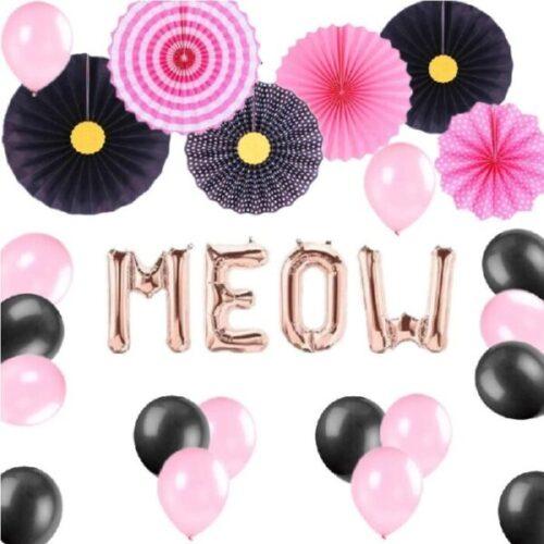 Juego de 27 globos de fiesta de color negro y rosa con diseño de gatito
