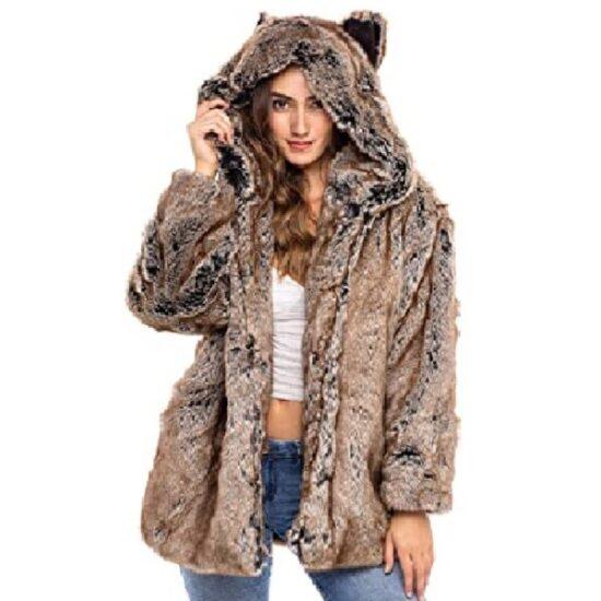 Abrigo corto de piel sintética con capucha de gato