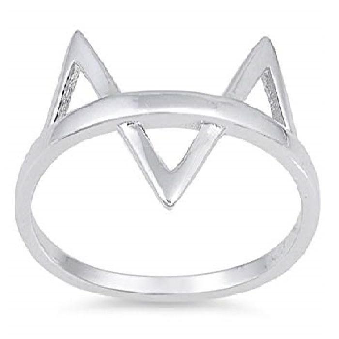 anillo de plata orejas de gato de moda