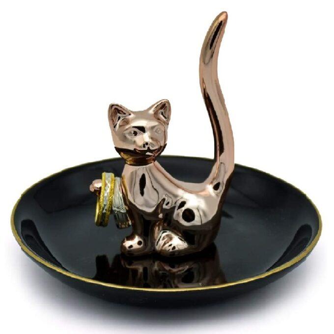 soporte para plato de baño de cerámica de gatos