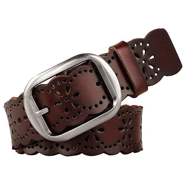 Cinturón de piel para mujer, diseño de flores huecas