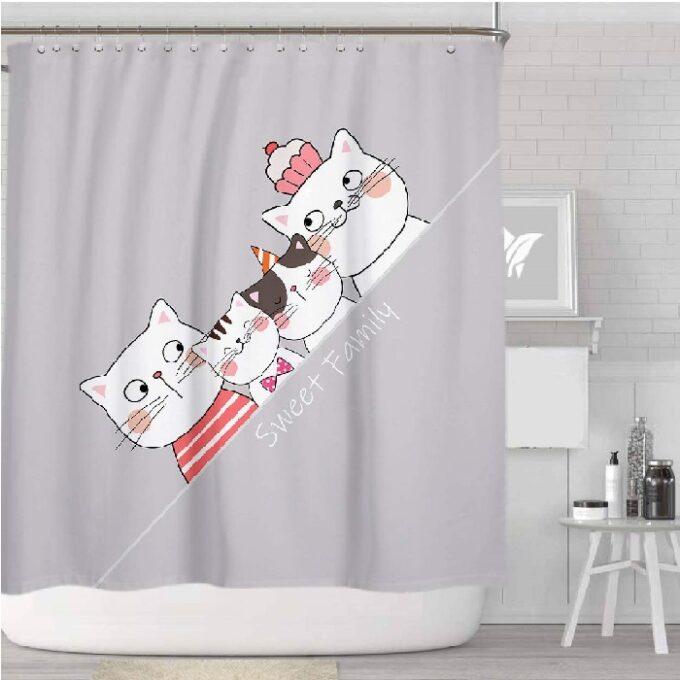 cortinas de baño modernas de gatos