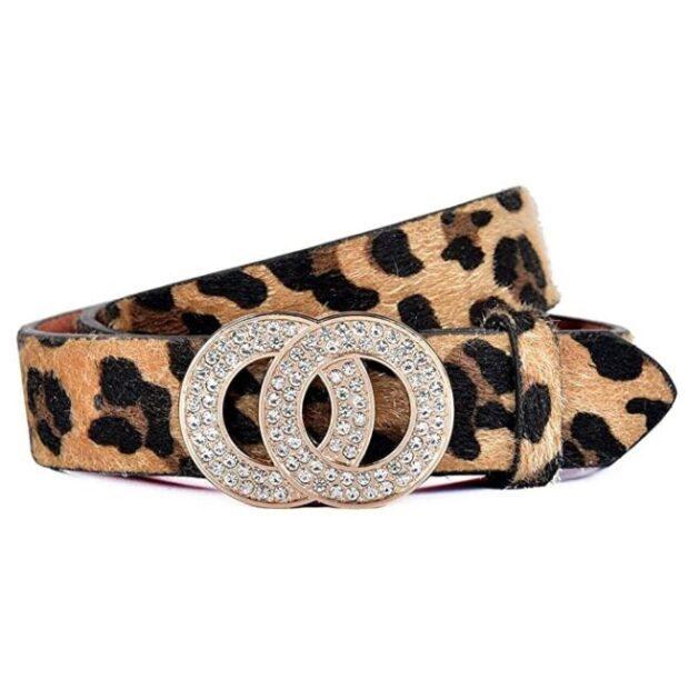 cinturón de mujer de animal print de gato leopardo