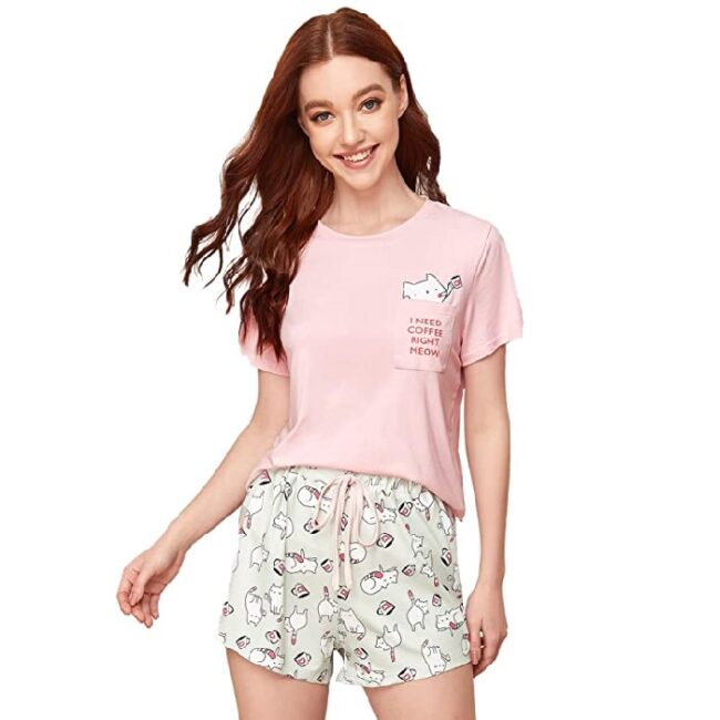 pijamas para dama algodón de gatos