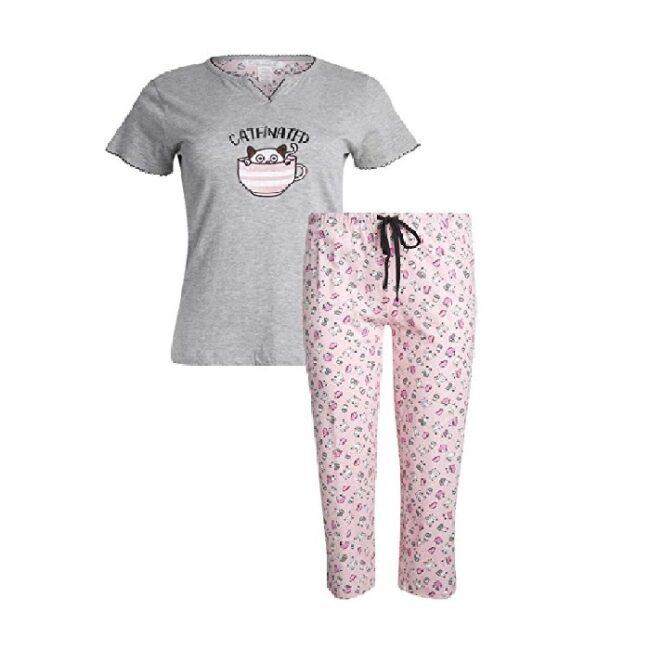 Pijama de manga corta para mujer de gatos