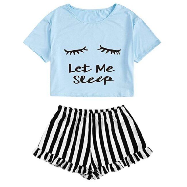 Conjunto de pijama para mujer, con impresión de ojos cerrados, conjunto de camiseta y pantalones cortos de gato