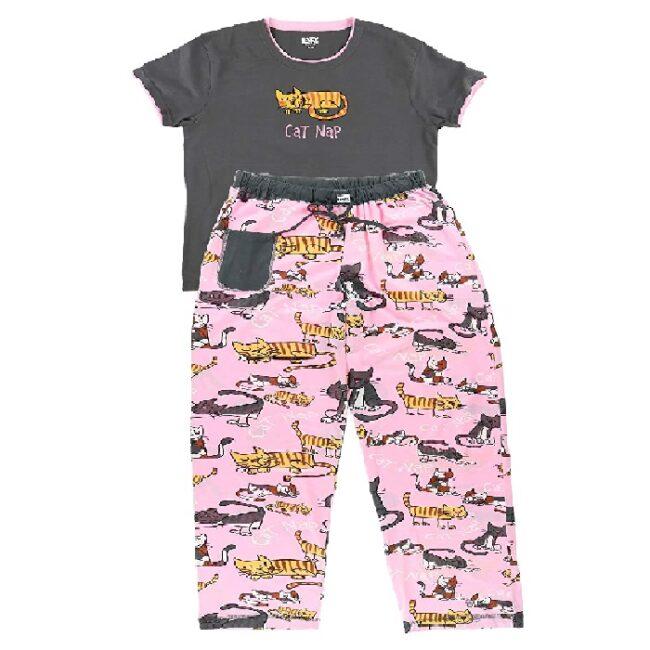 Pijama para mujer, manga corta con estampados lindos, ajuste relajado