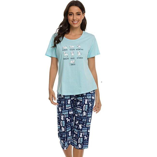 Conjunto de pijama corto, pantalones capri de algodón para mujer de gato
