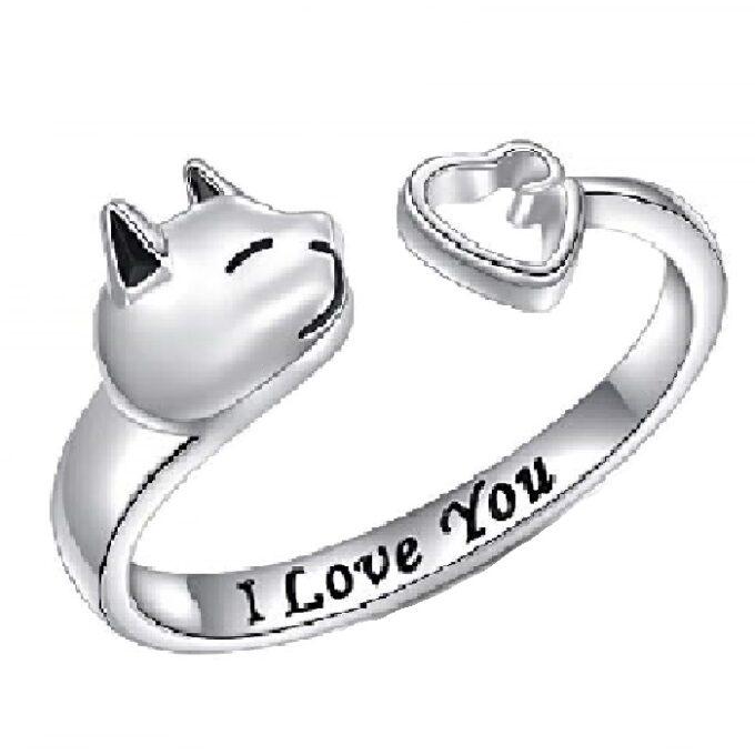 Anillos ajustables de plata de ley para mujer de gato